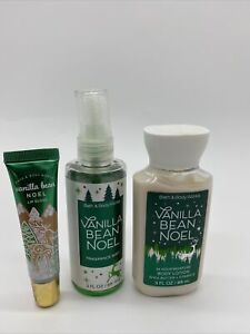 3 Pc Bath Body Works Vanilla Bean Noel Lip Gloss Body Lotion Mist Set