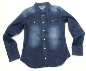 Chiqle Junior's Pearl Snap Button Long Sleeve Blue Denim Shirt Size L