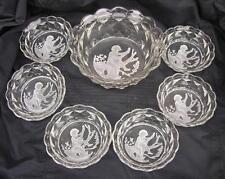 ANTIQUE ART DECO BOHEMIAN HEINRICH HOFFMAN GLASS DESSERT SET INCLUDING 7 DISHES