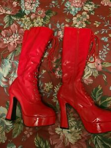 "Sexy red combat boots, size 9, laceup front, side zipper, knee high, 5"" heel"