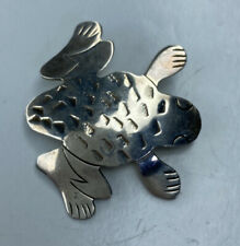 E MAC Sterling Silver 925 Mexico Tribal Frog Toad Jungle Brooch Pin