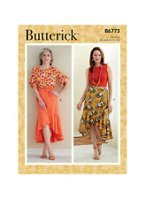 Butterick 6773 Sewing Pattern to MAKE Wrap skirt has button / tie front hem vari