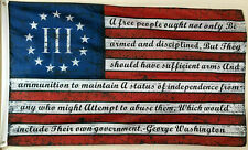 Three Percenter 2nd Amendment George Washington Flag Banner Blue 2x3 Feet