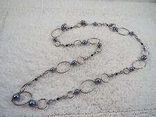LIA SOPHIA Alpine Silvertone Gray Bead Chain Necklace (A30)