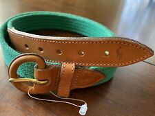 Vintage Polo Ralph Lauren Mens Cotton Web & Leather Green Belt Sz 36 Made In USA
