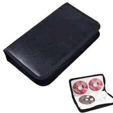 80Disc CD Holder DVD Case Storage Wallet VCD Organizer Faux Leather Bag Black kY