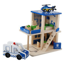 Wooden Doll Houses Series - Police Station Playset (14pcs) with Police Car