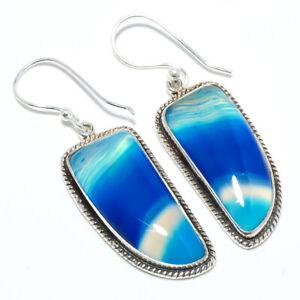 """Ocean Blue Botswana Agate 925 Sterling Silver Bali Earring Jewelry 1.87"""" S2677"""