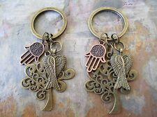 One Pair Lot of 2 Copper Hamsa Hand Bronze Tree of Life & Angel Wings Key Rings