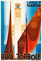 "Lake Garda Italy Vintage Illustrated Travel Poster Print  Glass Frame 36"""