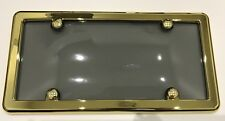 One UNBREAKABLE Tinted Smoke License Plate Shield Cover & GOLD Frame for FORD