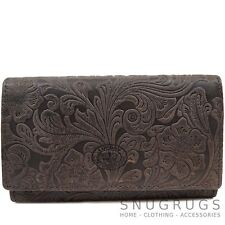 Ladies / Womens Genuine Leather Vintage Floral Purse / Money Holder