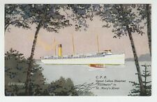 """[63550] OLD POSTCARD STEAMER """"KEEWATIN"""" in ST. MARY'S RIVER"""