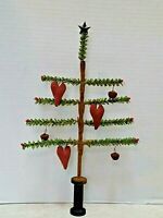 Primitive Valentine Small faux German feather tree  with  heart ornies
