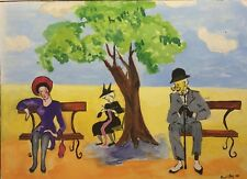 1943 PAUL CLERY Signed Acrylic Painting: Old Lover or Sexy Lover on Park Bench