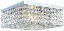 12-In. Chrome Crystal Square Flush Mount Ceiling Light Hardwired Home Decor Lamp
