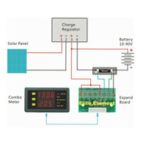 DC 120V 50A Volt Amp Combo Meter Battery Charge Discharge Indicator With Shunt