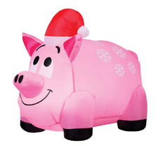 Pig Santa Hat Inflatable Airblown Christmas Holiday Yard Decor Lighted Outdoor