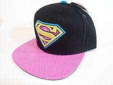 Pink Black Superman Hat Girls Guys Snap Back Baseball Snapback Adjustable Flat C