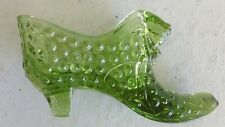 """Green Hobnail Glass Shoe Slipper, 6"""" with Cats Head, Possibly Fenton, No Damage"""