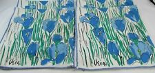 Vintage Vera Neumann Napkins Blue Flowers FLoral Set of 4 Crocus Tulip 33646
