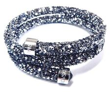 GRAY CRYSTALDUST DOUBLE BANGLE BRACELET MEDIUM 2016 SWAROVSKI JEWELRY #5237762