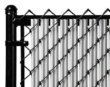 Chain Link Gray Single Wall Ridged™ Privacy Slat For 4ft High Fence Bottom Lock