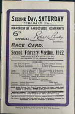 More details for manchester race card 1922 - closed course