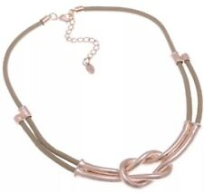 Rose Gold Plated Grey Leather Choker Statement Necklace Fashion Jewellery