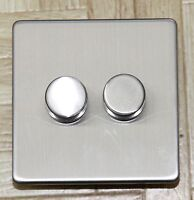 Trailing Edge LED dimmer switch Screwless Brushed chrome 2 gang 2 way Push onoff