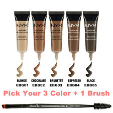 "3NYX Waterproof Eyebrow Gel "" Pick Your 3 Color "" + Angled brow Spoolie brush"