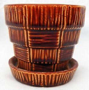 "Vintage McCoy Pottery USA Brown Basketweave 3"" Planter"
