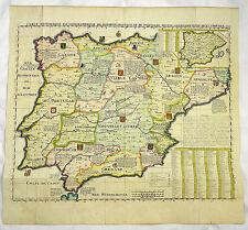 EL MAPA REINO PROVINCIA ESPAÑA SPANIEN PORTUGAL KARTE CHATELAIN 1721 #D943S