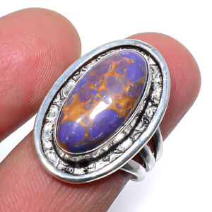Copper Purple Turquoise 925 Sterling Silver Handmade Jewelry Ring s.8 S2798