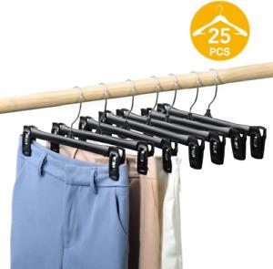 HOUSE DAY Pants Hangers 25 Pcs 12inch Black Plastic Skirt Hangers with Non-Slip