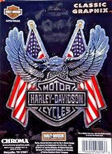 Harley Davidson  Eagle American Flags With Bar And Shield Sticker Decal Chrome