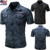US Men's Short Sleeve Denim Shirt Casual Slim Fit Button Down Jeans Tops Blouse