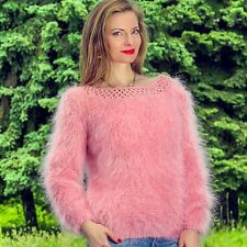 Designer handmade mohair sweater summer pink hand knitted lace top by SUPERTANYA