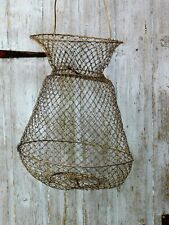 COLLAPSIBLE VINTAGE FRENCH WIRE FISHING CREEL KEEP NET EGGS FRUIT VEG LIVE BAIT