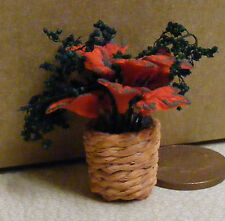1:12 Scale Red Pointsettia Flowers In A Pot Doll House Miniature Accessory