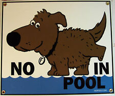 NO PEEING IN POOL SIGN, NO DOGS, FIDO, SWIMMING DECOR HOT TUB  ROOM HOME