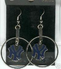 New York Yankees Logo Hoop Logo Dangle Earrings - MLB Licensed Jewelry