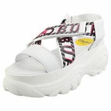 Buffalo Bo Womens White Leather & Textile Platform Sandals