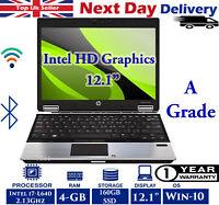 "HP EliteBook 2540p 12.1"" Laptop Intel i7 2.13Ghz 4GB RAM 160GB SSD Windows-10"