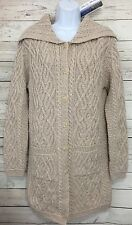 Aran Mor Beige Cable Knit Merino Wool Irish Long Cardigan Sweater Sz Small NEW