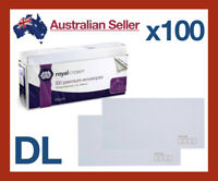 x 100 DL Premium Business White Paper Envelopes Mailer Peel Stick 11x22cm Letter