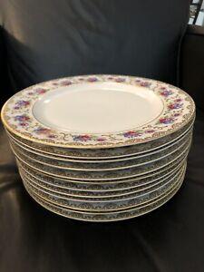 "Heinrich H&Co Selb Bavaria Floral & Gold 10 1/8"" Dinner Plates Set 12 Rich !!!"