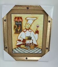 Fat Chef Wine Glass Picture Dimentional Bullets Sign 12x10 Salute  Signed #43