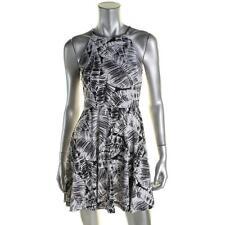 Aqua 6293 Womens B/W Printed Halter Mini Casual Dress S BHFO
