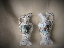 """VINTAGE PAIR OF SMALL ORNATE HIGHLY GILDED JUGS SCENIC PICTURE PANELS 5"""""""